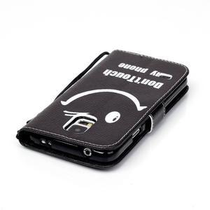 Knížkové PU kožené pouzdro na Samsung Galaxy S5 - nešahej na můj telefon - 6
