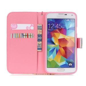 Knížkové PU kožené pouzdro na Samsung Galaxy S5 - makový květ - 6