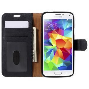 Clothy Pu kožené pouzdro na Samsung Galaxy S5 - černé - 6