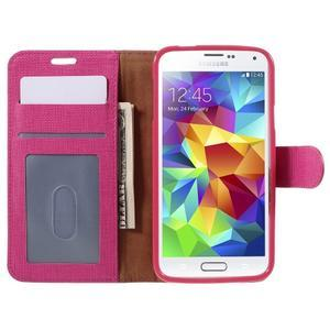 Clothy Pu kožené pouzdro na Samsung Galaxy S5 - rose - 6