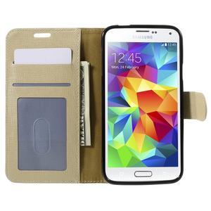 Clothy Pu kožené pouzdro na Samsung Galaxy S5 - champagne - 6
