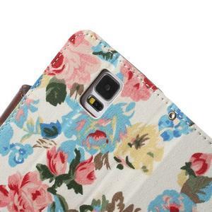 Květinové pouzdro na mobil Samsung Galaxy S5 - bílé pozadí - 6