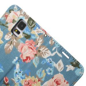 Květinové pouzdro na mobil Samsung Galaxy S5 - modré pozadí - 6