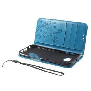 Butterfly PU kožené pouzdro na mobil Samsung Galaxy S6 Edge - modré - 6