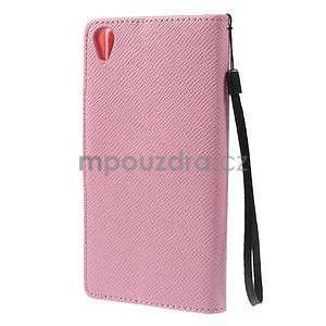 Růžové peněženkové pouzdro na Sony Xperia Z3 - 6