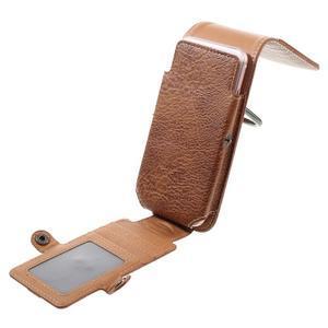 Cestovní PU kožené peněženkové pouzdro do rozměru 150 x 73 x 15 mm - hnědé - 6
