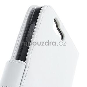 PU kožené peněženkové pouzdro na Huawei Ascend G7 - bílé - 6