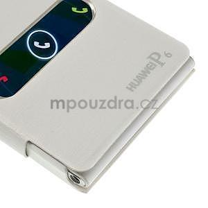 PU kožené pouzdro s okýnky na Huawei P6 - bílé - 6