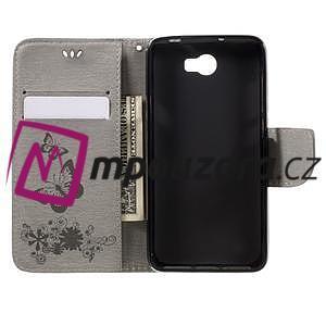 Butterfly PU kožené pouzdro na mobil Huawei Y5 II - šedé - 6