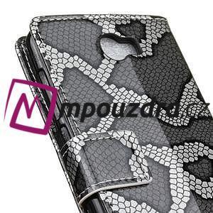 Peněženkové pouzdro s hadím motivem na Huawei Y6 II Compact - silver - 6