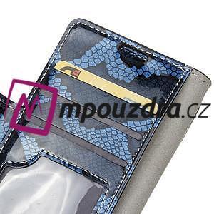 Peněženkové pouzdro s hadím motivem na Huawei Y6 II Compact - modré - 6
