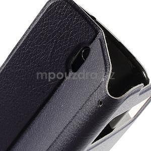 Flipové PU kožené pouzdro na HTC Desire 500 - tmavě fialové - 6