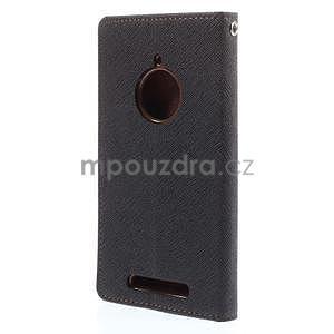 PU kožené peněženkové pouzdro na Nokia Lumia 830 - černé/hnědé - 6