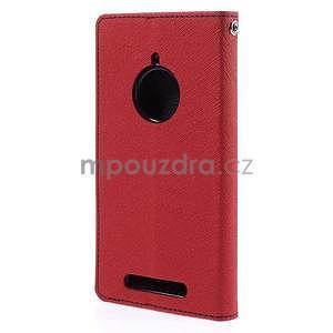 PU kožené peněženkové pouzdro na Nokia Lumia 830 - červené - 6