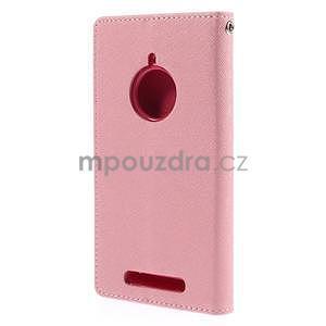 PU kožené peněženkové pouzdro na Nokia Lumia 830 - růžové - 6