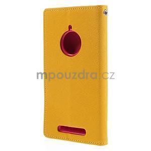 PU kožené peněženkové pouzdro na Nokia Lumia 830 - žluté - 6