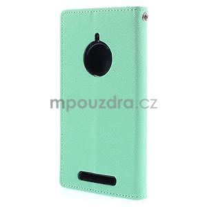 PU kožené peněženkové pouzdro na Nokia Lumia 830 - azurové - 6