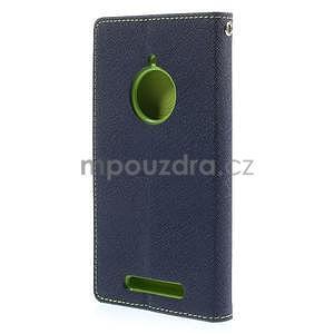 PU kožené peněženkové pouzdro na Nokia Lumia 830 - tmavě modré - 6