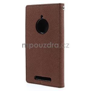 PU kožené peněženkové pouzdro na Nokia Lumia 830 - hnědé/černé - 6