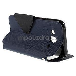 PU kožené pouzdro s okýnkem pro Samsung Galaxy J5 - tmavě modré - 6