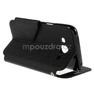 PU kožené pouzdro s okýnkem pro Samsung Galaxy J5 - černé - 6