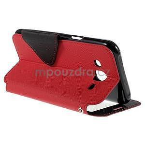 PU kožené pouzdro s okýnkem pro Samsung Galaxy J5 - červené - 6