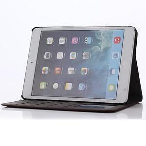 Koženkové pouzdro s imitací dřeva na iPad Mini 3, iPad Mini 2, iPad mini - tmavě šedé - 6