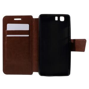Peněženkové PU kožené pouzdro na mobil Doogee X5 - hnědé - 6