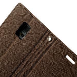 Diary PU kožené pouzdro na Samsung Galaxy S5 mini - hnědé - 6