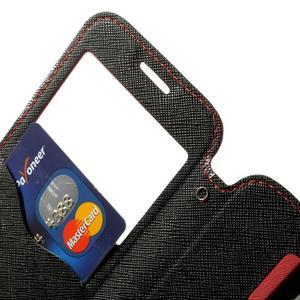 Pěněženkové pouzdro s okýnkem pro Samsung Galaxy S5 mini - červené - 6