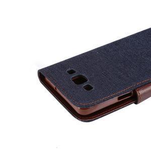 Jeans peněženkové pouzdro na Samsung Galaxy note 3 - černomodré - 6