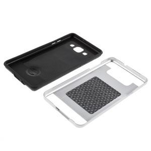 Hybridní gelové/plastové pouzdro na Samsung Galaxy A5 - stříbrné - 6