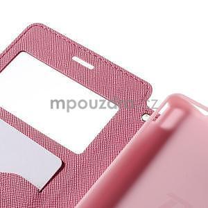 Peněženkové pouzdro s okýnkem pro Sony Xperia M4 Aqua - růžové - 6