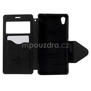 Peněženkové pouzdro s okýnkem pro Sony Xperia M4 Aqua - černé - 6
