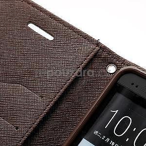 Peněženkové PU kožené pouzdro pro HTC One M7 - hnědé - 6