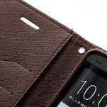 Peněženkové PU kožené pouzdro pro HTC One M7 - hnědé - 6/7