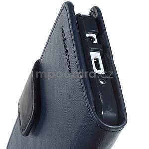 Tmavě modré PU kožené peněženkové pouzdro na Samsung Galaxy A3 - 6
