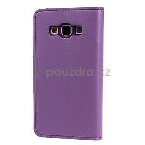 Fialové PU kožené peněženkové pouzdro na Samsung Galaxy A3 - 6