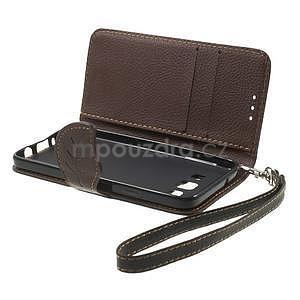 Černé/hnědé PU kožené pouzdro na Samsung Galaxy A3 - 6