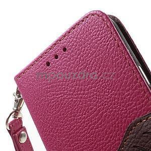 Rose/hnědé PU kožené pouzdro na Samsung Galaxy A3 - 6
