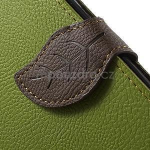 Zelené/hnědé PU kožené pouzdro na Samsung Galaxy A3 - 6