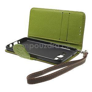 Hnědé/zelené PU kožené pouzdro na Samsung Galaxy A3 - 6