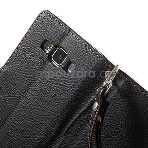 Černé/hnědé PU kožené pouzdro na Samsung Galaxy A5 - 6