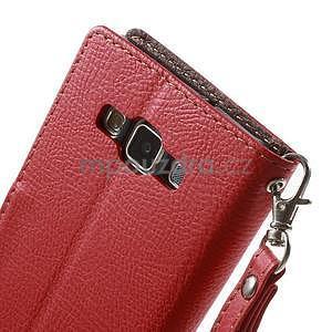 Červené/hnědé PU kožené pouzdro na Samsung Galaxy A5 - 6