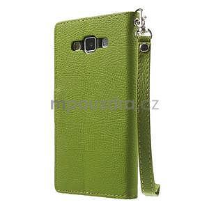 Zelené/hnědé PU kožené pouzdro na Samsung Galaxy A5 - 6