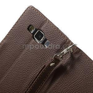 Hnědé/zelené PU kožené pouzdro na Samsung Galaxy A5 - 6