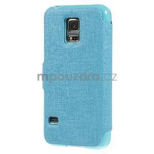 Světle modré  zapínací pouzdro na Samsung Galaxy S5 mini - 6