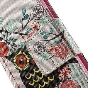 Zapínací peněženkové pouzdro na Samsung Galaxy S5 mini - květinová sova - 6