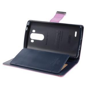 Luxusní PU kožené pouzdro na mobil LG G3 - fialové - 6