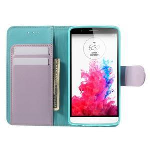 Světlemodré PU kožené pouzdro na LG G3 - 6